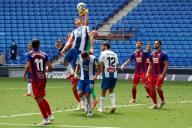 Bernardo Espinosa of RCD Espanyol in action with Marko Dmitrovic of SD Eibar during the Liga match between RCD Espanyol and SD Eibar at RCD Stadium on July 12, 2020 in Barcelona, Spain. (Photo by DAX\/ESPA-Images