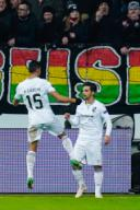 12 December 2019, Hessen, Frankfurt/Main: Soccer: Europa League, Eintracht Frankfurt - Vitoria Guimaraes, Group stage, Group F, 6th matchday, in the Commerzbank Arena. Scorer Rochinha (r) of Vitoria Guimaraes cheers with team-mate Victor Garcia over the goal to 0-1. Photo: Uwe Anspach/