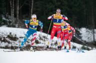 26 January 2020, Bavaria, Oberstdorf: Cross-country World Cup, ladies: Sprint 1.4 km: Sadie Maubet Bjornsen (l) from the USA and Astrid Uhrenholdt Jacobsen in action. Photo: Silas Stein/