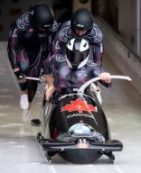 26 January 2020, Bavaria, Schönau Am Königssee: Four-man bobsleigh, gentlemen, artificially-iced track at Königssee, first run. Justin Kripps, Ryan Sommer, Benjamin Coakwell and Cameron Stones from Canada in action. Photo: Sven Hoppe/