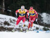 26 January 2020, Bavaria, Oberstdorf: Cross-country World Cup, ladies: Sprint 1,4 Km: Anna Svendsen (l) from Norway and Natalia Nepryaeva from Russia in action Photo: Silas Stein/