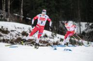 26 January 2020, Bavaria, Oberstdorf: Cross Country World Cup, Men: Sprint 1,6 Km: Erik Valnes (l) from Norway in action. Photo: Silas Stein/