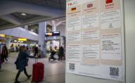 26 January 2020, Berlin: Posters at Tegel Airport point out the danger of the coronavirus. The posters are in German, English and Chinese. Handouts are also distributed for selected flights from China. Passengers can therefore contact the airport staff at any time if there is any suspicion. Photo: Andreas Gora/