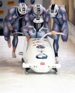 26 January 2020, Bavaria, Schönau Am Königssee: Four-man bobsleigh, gentlemen, artificially-iced track at Königssee, first run. Oskars Kibermanis, Lauris Kaufmanis, Helvijs Lusis and Matiss Miknis from Latvia in action. Photo: Sven Hoppe/