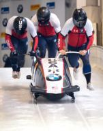 26 January 2020, Bavaria, Schönau Am Königssee: Four-man bobsleigh, gentlemen, artificially-iced track at Königssee, first run. Hunter Church, Joshua Williamson, James Reed and Kristopher Horn from the USA in action. Photo: Sven Hoppe/