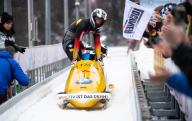 26 January 2020, Bavaria, Schönau Am Königssee: Four-man bobsleigh, gentlemen, artificially-iced track at Königssee, second heat. Johannes Lochner, Benedikt Hertel, Christopher Weber and Florian Bauer from Germany cheered at the finish. The bobsled took second place. Photo: Sven Hoppe/
