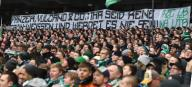 """26 January 2020, Bremen: Football: Bundesliga, Werder Bremen - TSG 1899 Hoffenheim , 19th matchday. Werder fans show a banner with the inscription """"Panzer, Vulcano & Co: You are not green-white and never will be! Photo: Carmen Jaspersen/dpa - IMPORTANT NOTE: In accordance with the regulations of the DFL Deutsche Fußball Liga and the DFB Deutscher Fußball-Bund, it is prohibited to exploit or have exploited in the stadium and/or from the game taken photographs in the form of sequence images and/or video-like photo series."""