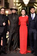 """21 February 2020, Berlin: 70th Berlinale, Red Carpet, Special Gala, """"Minamata"""": (l-r), Hiroyuki Sanada, Johnny Depp, Minami, Andrew Levitas, . The International Film Festival takes place from 20.02. to 01.03.2020. Photo: Gregor Fischer/"""
