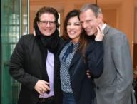 21 February 2020, Berlin: 70th Berlinale, reception FilmFernsehFonds Bayern: Actors Francis Fulton-Smith, Alice Brauner and her husband Michael Zechbauer. The International Film Festival takes place from 20.02. to 01.03.2020. Photo: Jens Kalaene/dpa-Zentralbild/
