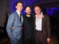 21 February 2020, Berlin: 70th Berlinale, Party Blue Hour: Actors Rick Okon (l-r), Franz Dinda, Robert Stadlober. The International Film Festival takes place from 20.02. to 01.03.2020. Photo: Britta Pedersen/dpa-zentralbild/
