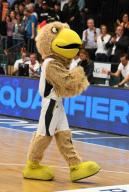 21 February 2020, Lower Saxony, Vechta: Basketball: European Championship qualification, 4th round, Group G, 1st matchday, Germany - France. Mascot Arnold walks the parquet floor. Photo: Carmen Jaspersen/