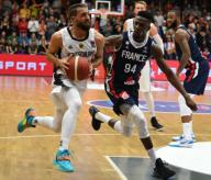 21 February 2020, Lower Saxony, Vechta: Basketball: European Championship qualification, 4th round, Group G, 1st matchday, Germany - France. Germany