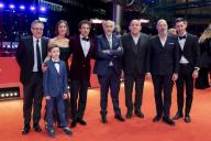 "21 February 2020, Berlin: 70th Berlinale, Red Carpet, Competition, ""Volevo nascondermi"" (Hidden Away): Paolo Del Brocco (l-r), producer, Leonardo Carrozzo (front), actor, Tania Pedroni, screenwriter, Elio Germano, actor, Giorgio Diritti, director and screenwriter, Carlo Degli Esposti, producer, another guest and Oliver Ewy, actor. The International Film Festival takes place from 20.02. to 01.03.2020. Photo: Christoph Soeder/"