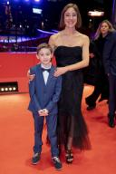 "21 February 2020, Berlin: 70th Berlinale, red carpet, competition, ""Volevo nascondermi"" (Hidden Away): Leonardo Carrozzo, actor, and Tania Pedroni, screenwriter. The International Film Festival takes place from 20.02. to 01.03.2020. Photo: Christoph Soeder/"
