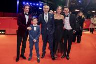 "21 February 2020, Berlin: 70th Berlinale, Red Carpet, Competition, ""Volevo nascondermi"" (Hidden Away): Elio Germano (l-r), actor, Leonardo Carrozzo, actor, Giorgio Diritti, director and screenwriter, Tania Pedroni, screenwriter, and Oliver Ewy, actor. The International Film Festival takes place from 20.02. to 01.03.2020. Photo: Christoph Soeder/"