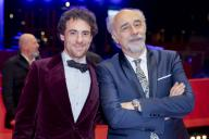 "21 February 2020, Berlin: 70th Berlinale, Red Carpet, Competition, ""Volevo nascondermi"" (Hidden Away): Elio Germano (l), actor and Giorgio Diritti, director and scriptwriter The International Film Festival takes place from 20.02. to 01.03.2020. Photo: Christoph Soeder/"