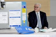 09 July 2020, Schleswig-Holstein, Lübeck: German President Frank-Walter Steinmeier sits next to the prototype of a pandemic ventilator during a visit to the plant of medical technology manufacturer Dräger. According to the Office of the Federal President, the visit is the Federal President\'s first appointment outside Berlin since the beginning of the corona crisis. Photo: Carsten Rehder