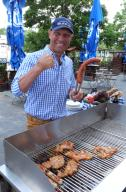 30 June 2020, Berlin: Ex-boxer and grill master Axel Schulz at the barbecue recorded on 30.06.2020 in the beer garden of the Hofbräu Inn at Alexanderplatz in Berlin Mitte. There he also presented his barbecue products and his beer. BY XAMAX Photo: XAMAX