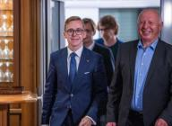 19 June 2020, Mecklenburg-Western Pomerania, Güstrow: CDU politician Philipp Amthor (l) comes out of the conference room after the meeting of the CDU state executive committee, alongside provisional state chairman Eckhardt Rehberg (r). Amthor declares his resignation from running for election as CDU state chairman in Mecklenburg-Western Pomerania. Photo: Jens Büttner\/dpa-Zentralbild
