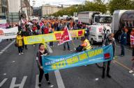 "24 September 2020, Hamburg: Participants of a rally of the trade union Verdi on warning strikes in the public sector stand on the Jungfernstieg with a banner with the slogan ""Now it\'s your turn"". Photo: Axel Heimken\/dpa"
