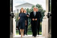 Judge Amy Coney Barrett, President Donald Trump\'s nominee to the Supreme Court and Vice President Mike Pence walk up the steps of the Capitol to meet with Senators in Washington, DC on September 29, 2020. Credit: Erin Schaff \/ Pool via CNP | usage worldwide