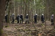 dpatop - 01 October 2020, Hessen, Stadtallendorf: Police arrive to clear the forest near Stadtallendorf, which has been occupied by environmental activists. The first construction phase for the controversial A49 is to begin here. Photo: Boris Roessler\/dpa