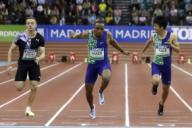 (L-R) Slovenian athlete Jan Volko, US Ronnie Baker and Japanese Shuhei Tada in action during the men