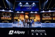 Eric Jing, Chief Executive Officer and Executive Chairman of Ant Financial Services Group, right, delivers a speech during the INCLUSION Fintech Conference which is co-held by Alibaba, ANT Group and Alipay in Shanghai, China, 24 September 2020