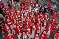 Thousands of citizens attend a flash mob to celebrate the National Day of the People\'s Republic of China, two huge flags of 600 square meters stick out particularly, Shenyang City, northeast China\'s Liaoning Province, 1st October 2020