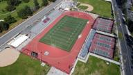 General overall aerial view of Salter Stadium at Arcadia High School, the site of the annual Arcadia Invitational track and field meet, Monday, March 30, 2020 in Arcadia, Calif. The Arcadia Invitational has produced 32 national records and 179 U.S. Olympians since the meet