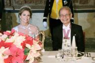 Japanese scientist Akira Yoshino, one of three winners of the 2019 Nobel Prize in chemistry, sits next to Swedish Princess Madeleine at a banquet hosted by Swedish King Carl XVI Gustaf at the royal palace in Stockholm on Dec. 11, 2019. (Pool photo) (Kyodo) ==Kyodo