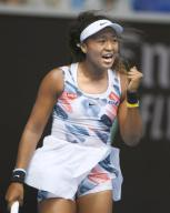 Naomi Osaka of Japan reacts after winning a point against Zheng Saisai of China in the second round of the Australian Open tennis tournament in Melbourne on Jan. 22, 2020. (Kyodo) ==Kyodo