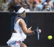 Naomi Osaka of Japan plays against Zheng Saisai of China in the second round of the Australian Open tennis tournament in Melbourne on Jan. 22, 2020. (Kyodo) ==Kyodo