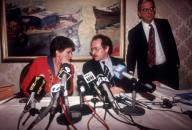 Leona Helmsley (L), with her attorney Alan Dershowitz (C) and her PR flack Howard Rubinstein (R) at a news conference on her tax charges on September 19, 1991. ( Frances M. Roberts)