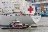 March 30, 2020 - Weehawken, New Jersey, United States: The Navy Hospital ship USNS Comfort arrives at New York