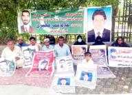 LARKANA, PAKISTAN, SEP 29: Relatives of missing persons are holding protest demonstration against for recovery their loves ones, at Jinnah Bagh in Larkana on Tuesday, September 29, 2020. (Jamal Dawoodpoto\/PPI Images
