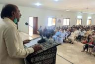 LARKANA, PAKISTAN, SEP 29: Advisor to Sindh Chief Minister for Universities and Boards, Nisar Ahmed Khuhro addresses during the seminar on Shah Abdul Latif Bhittai held at Sindh University Campus in Larkana on Tuesday, September 29, 2020. (Jamal Dawoodpoto\/PPI Images