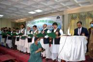 QUETTA, PAKISTAN, SEP 29: Chief Secretary Balochistan, Capt (Retd) Fazeel Asghar administrates oath from the newly elected members of Balochistan Civil Secretariat Officers Welfare Association during oath taking ceremony held in Quetta on Tuesday, September 29, 2020. (Sami Khan\/PPI Images