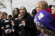 UNITED STATES - JANUARY 17: An activist of the group Remove Trump participates in a âSwam the Senateâ protest in the atrium of the Hart Senate Office Building calling for the removal of President Donald Trump on Friday, Jan. 17, 2020. (Photo by Caroline Brehman/CQ Roll Call)