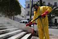 (200331) -- ALGIERS, March 31, 2020 (Xinhua) -- A staff member conducts disinfection in downtown Algiers, Algeria, March 30, 2020. Algeria on Monday reported four new deaths from the COVID-19, bringing the death toll to 35. Meanwhile, the total number of confirmed cases has risen to 584, of whom 37 have been cured. (Xinhua) - -//CHINENOUVELLE_0937035/2003311000/Credit:CHINE NOUVELLE/SIPA/