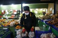 (200331) -- ANKARA, March 31, 2020 (Xinhua) -- A man works at a supermarket in Ankara, Turkey, March 30, 2020. Turkey on Monday announced 37 more deaths from COVID-19, while the total number of infection cases in the country has risen to 10,827. (Photo by Mustafa Kaya/Xinhua) - -//CHINENOUVELLE_0937043/2003311001/Credit:CHINE NOUVELLE/SIPA/
