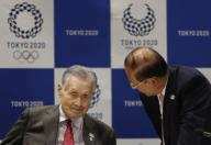 Yoshiro Mori, President of the Tokyo 2020 Olympic Games Organising Committee, talks with CEO Toshiro Muto during Tokyo 2020 Executive Board Meeting in the coronavirus disease (COVID-19) outbreaking in Tokyo, Japan March 30, 2020. Tokyo, JAPAN 30 March 2020. //DATICHE_001.0425/2003310942/Credit:Issei Kato/Pool/SIPA/