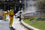 (200331) -- ALGIERS, March 31, 2020 (Xinhua) -- Staff membres conduct disinfection in downtown Algiers, Algeria, March 30, 2020. Algeria on Monday reported four new deaths from the COVID-19, bringing the death toll to 35. Meanwhile, the total number of confirmed cases has risen to 584, of whom 37 have been cured. (Xinhua) - -//CHINENOUVELLE_0937038/2003311000/Credit:CHINE NOUVELLE/SIPA/