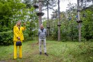 BURGH-HAAMSTEDE, NETHERLANDS - JUNE 02: Queen Maxima of The Netherlands visits climbing forest Zeeuwse Helden and camping Ons Buiten to get informed about the impact of the Corona Pandemic on the tourism sector on July 8, 2020 in BurgH-Haamstede, Netherlands.\/\/UTRECHT_1500.1496\/2007091152\/Credit:Robin Utrecht\/SIPA