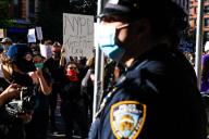 """Protest against racism in the United States - Protesters during a """"Black Lives Matter"""" protest on Manhattan Island in New York in the United States after outrage after George Floyd, an unarmed black man, died and was arrested by a police officer in ..."""