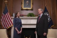 Seventh United States Circuit Court Judge Amy Coney Barrett (L), US President Donald Trump\'s nominee for the US Supreme Court, meets with US Senator Mike Crapo (Republican of Idaho) as she begins a series of meetings to prepare for her confirmation