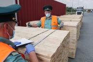YEKATERINBURG, RUSSIA - JULY 9, 2020: Customs officers inspect lumber at the Verkh-Isetsky Station of the Yekaterinburg Customs. Donat Sorokin\/TASS