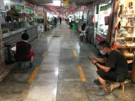 A popular food market, used by top international hotels and restaurants, remains empty in Beijing on Thursday, July 16, 2020. The emergence of a coronavirus cluster in the capital last month has led to increased scrutiny of major food markets that sell both imported and domestic food, especially seafood. Photo by Stephen Shaver