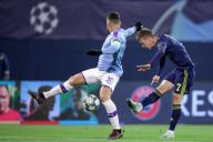 (191212) -- ZAGREB, Dec. 12, 2019 (Xinhua) -- Nicholas Otamendi (L) of Manchester City vies with Dani Olmo of Dinamo Zagreb during a Group C match of the 2019-2020 UEFA Champions League between Dinamo Zagreb and Manchester City at Maksimir Stadium in Zagreb, Croatia, Dec. 11, 2019. (Goran Stanzl/Pixsell via Xinhua)