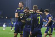 (191212) -- ZAGREB, Dec. 12, 2019 (Xinhua) -- Dani Olmo (front R) of Dinamo Zagreb celebrates with teammates after scoring a goal during a Group C match of the 2019-2020 UEFA Champions League between Dinamo Zagreb and Manchester City at Maksimir Stadium in Zagreb, Croatia, Dec. 11, 2019. (Luka Stanzl/Pixsell via Xinhua)